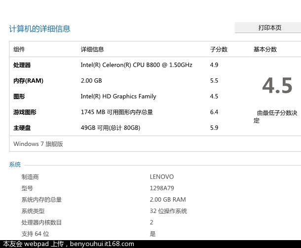 单通道2GB内存-内侧插槽-win7评分5.5
