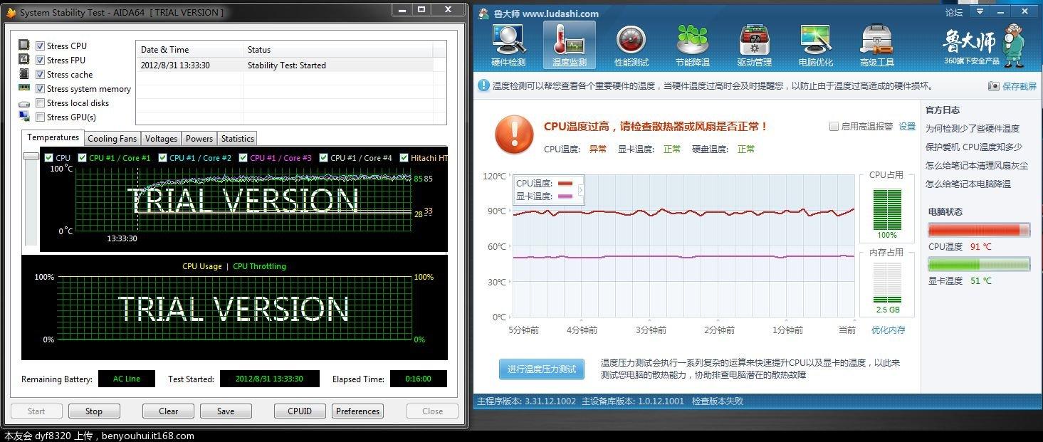 CPU温度压力测试 16分钟.JPG