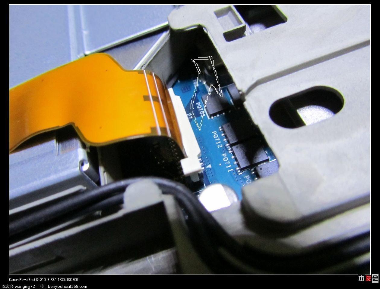 拆机不小心吧笔记本光驱排线连接处的白色塑料