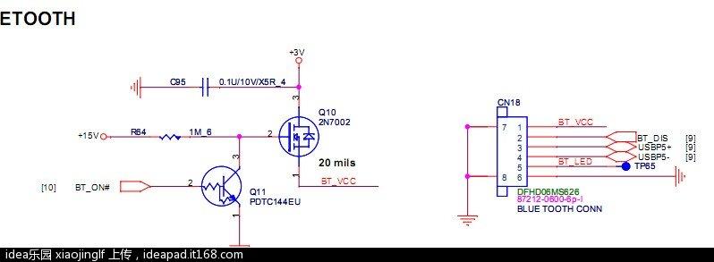 蓝牙供电为3v.所以作为usb用,需要另外找 5v.