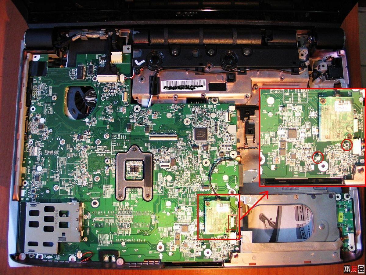 安装蓝牙模块的过程很简单,主板上已经预留好了安装位置,就在modem